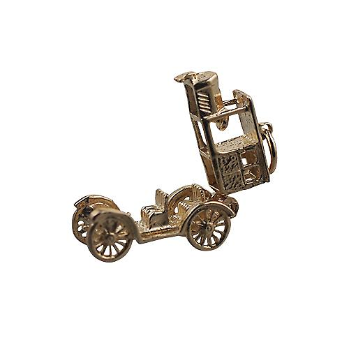 9ct Gold-11x22mm beweglich Oldtimer Anhänger oder Charme