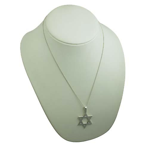 Silver 37x37mm plain Star of David Pendant with a curb chain