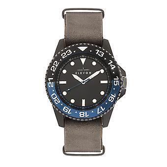Elevon Dumont Leather-Band Watch - Black/Gray