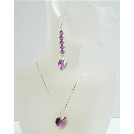 Romantic Jewelry Amethyst Swarovski Crystals Heart Pendant & Earrings