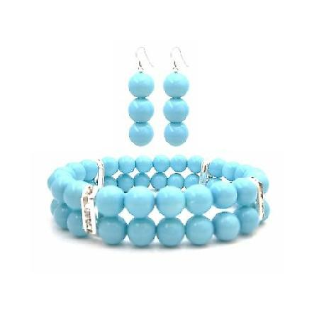 Fantastic Braclet & Earrings in Color Pool Blue Pearl Jewelry