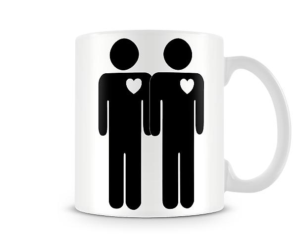 Two Stick Men Heart Printed Mug