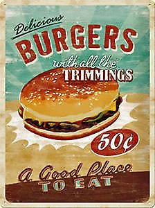 Burgers with Trimmings large embossed steel sign    (na 4030)