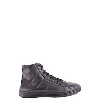 Hogan Black Leather Hi Top Sneakers