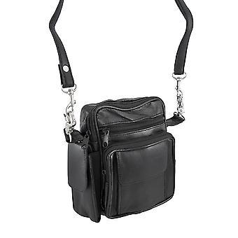 黑色皮革休闲晚袋 / 皮带环袋