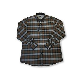 Olymp Casual shirt in brown/grey check pattern