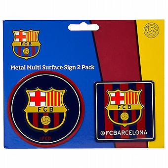 FC Barcelona set of 2 mini metal signs (spg)