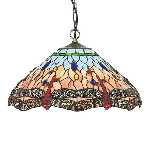 Searchlight 1283-16 Tiffany Traditional Tiffany Chain Ceiling Pendant