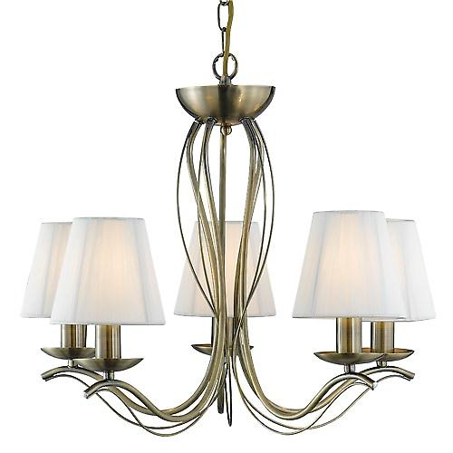 Searchlight 9825-5AB Andretti 5 Arm Antique Brass Fitting Cream String Shades
