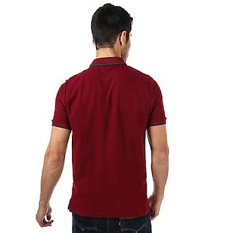 Mens Ben Sherman Tipped Collar Polo Shirt In Port- Short Sleeve- 2 Button