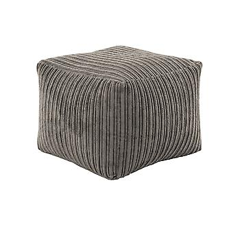 Charcoal Square Bean Bag Footstool Pouffe Seat in Soft Jumbo Cord Fabric