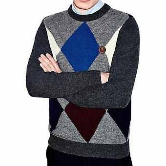 Fred Perry Shetland Wolle Argyle Rundhals Pullover K7228-829