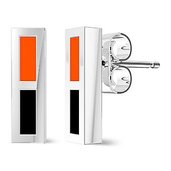 Oklahoma State University Enamel Stud Earrings In Black And Dark Orange
