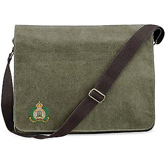 Suffolk Regiment Colour - Licensed British Army Embroidered Vintage Canvas Despatch Messenger Bag