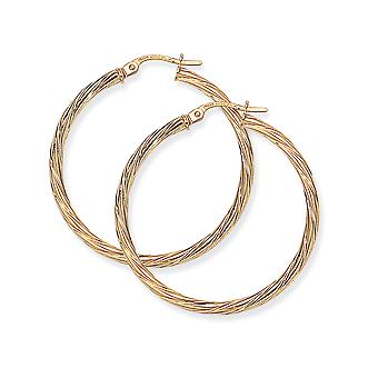 Jewelco London Ladies 9ct Giallo Oro Livolgo Candy Twist Hoop Orecchini - 33mm