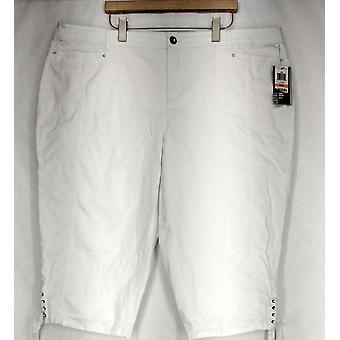 Stijl & Co. plus broek tummy controle Capri stijl witte Womens