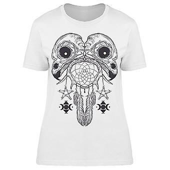 Bird Skulls Pentagram Art Tee Women's -Image by Shutterstock
