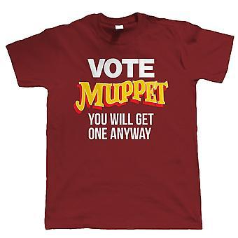 Vote Muppet Mens Political Joke T-Shirt | Humour Laughter Sarcasm Jokes Messing Comedy | Liberty Government Activist Dictatorship Socialist | Brexit British Parliament Protest